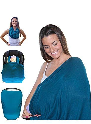 Mom & Bebe Multi-use Nursing Cover / Scarf / Baby Car Seat Cover with Baby Bib, Dark Green, XL - 28 x 67 -inches ()