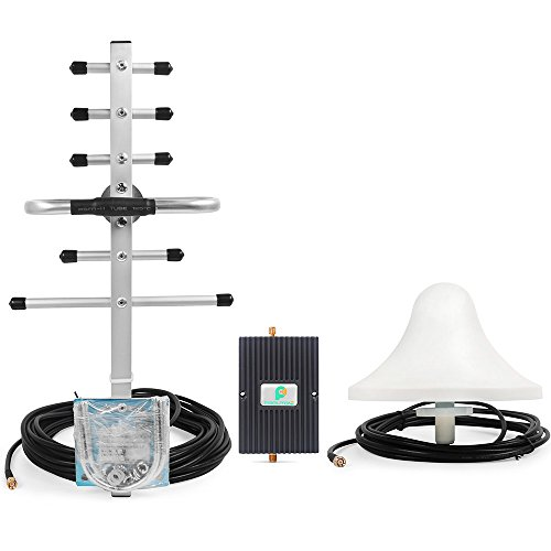 65db 850/1900MHz Dual Band Cellular Cell Signal Booster Repeater Kit with Indoor Omni Ceiling Antenna and Outdoor Yagi Antenna