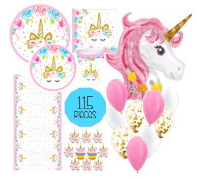 Unicorn Party Supplies Set - 115pc Decorations Bundle - Tableware for 16 (Plates Napkins Cups Tablecloth) Cupcake Wrapper/Topper & HUGE Unicorn Balloon! Party, Shower or 1st Birthday - Love, Summer ()