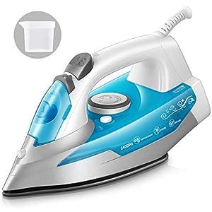 KotiCidsin Fer à repasser – 2400 W Fer à vapeur Céramique – 250 ml – Effet Pressing jusqu'à 200g/min, Bleu (anti-tartre…