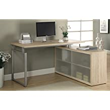 "Monarch Specialties Reclaimed-Look ""L"" Shaped Desk with Frosted Glass, Natural"