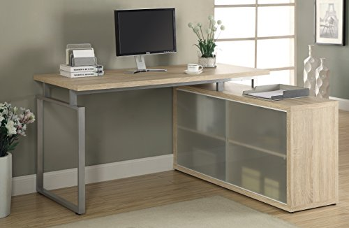 "Monarch Reclaimed-Look ""L"" Shaped Desk with Frosted Glass, Natural"
