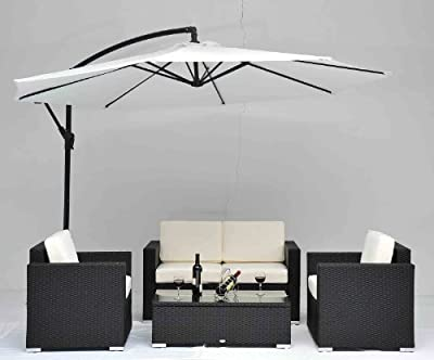 Outdoor Rattan Set 4 Pcs Sofa Wicker Sectional Garden Patio Furniture BroyerK