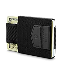 Minimalist Slim Front Pocket Wallet-10 Card Holders -Cash & Keys Small, Black