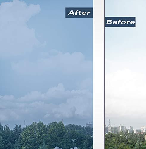 Beautyhero 23.6in X 6.56ft Heat Control Window Film One Way Privacy Non-Adhesive Insulating Static Cling Sun Blocking Anti UV Tint Black (Best Way To Remove Window Tint)