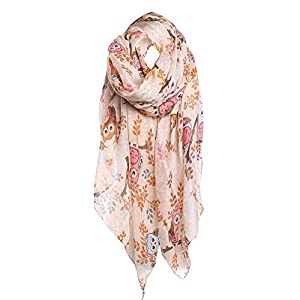 UONQD Women Ladies Owl Leaves Print Pattern Long Scarf Warm Wrap Shawl KH(OneSize,Khaki)
