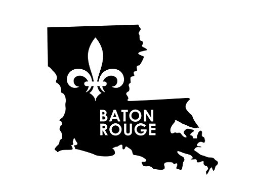 ND213 Baton Rouge Louisiana Fleur De Lis Decal Sticker | 6.5-Inches By 5.6-Inches | Premium Quality Black Vinyl -