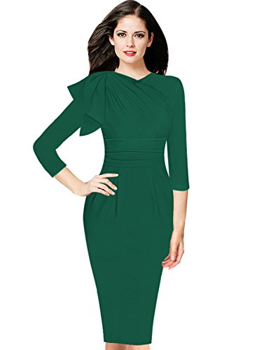 Emerald Cocktail Dresses (VfEmage Women's Celebrity Elegant Ruched Wear To Work Party Prom Bodycon Dress 9018 Grn 16)