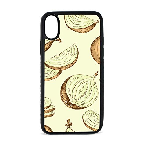 Case for iPhone Onion Vegetable Side Dish Creativity Digital Print TPU Pc Pearl Plate Cover Phone Hard Case Cell Phone Accessories Compatible with Protective Apple Iphonex/xsCase 5.8 Inch
