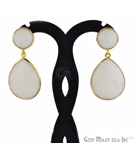 Choose Your Smooth Bezel Gemstone Stud Earring 24k Gold Plated Exclusively by GemMartUSA -White Agate -