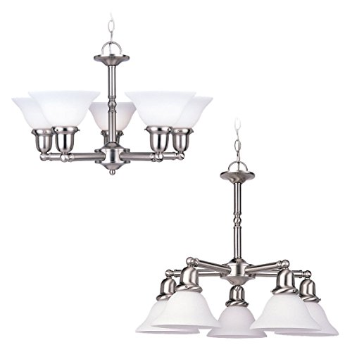 Sea Gull Lighting 31061-962 Sussex Five-Light Chandelier, Brushed Nickel Finish with Satin White - Light Single 962 Sussex