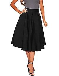 Wowforu Women Autumn High Waist Solid Pleated Midi A-line Skirt