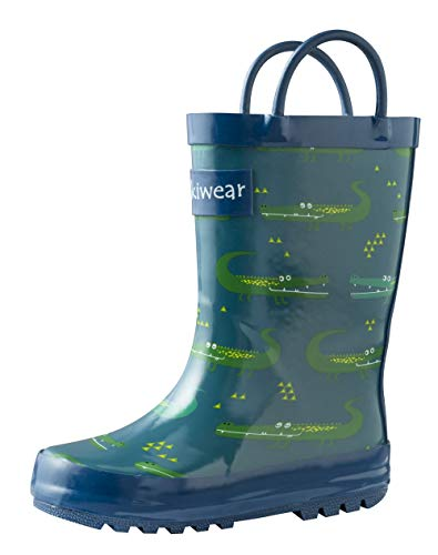 OAKI Kids Rubber Rain Boots with Easy-On Handles, Crocodile, 8T US Toddler -