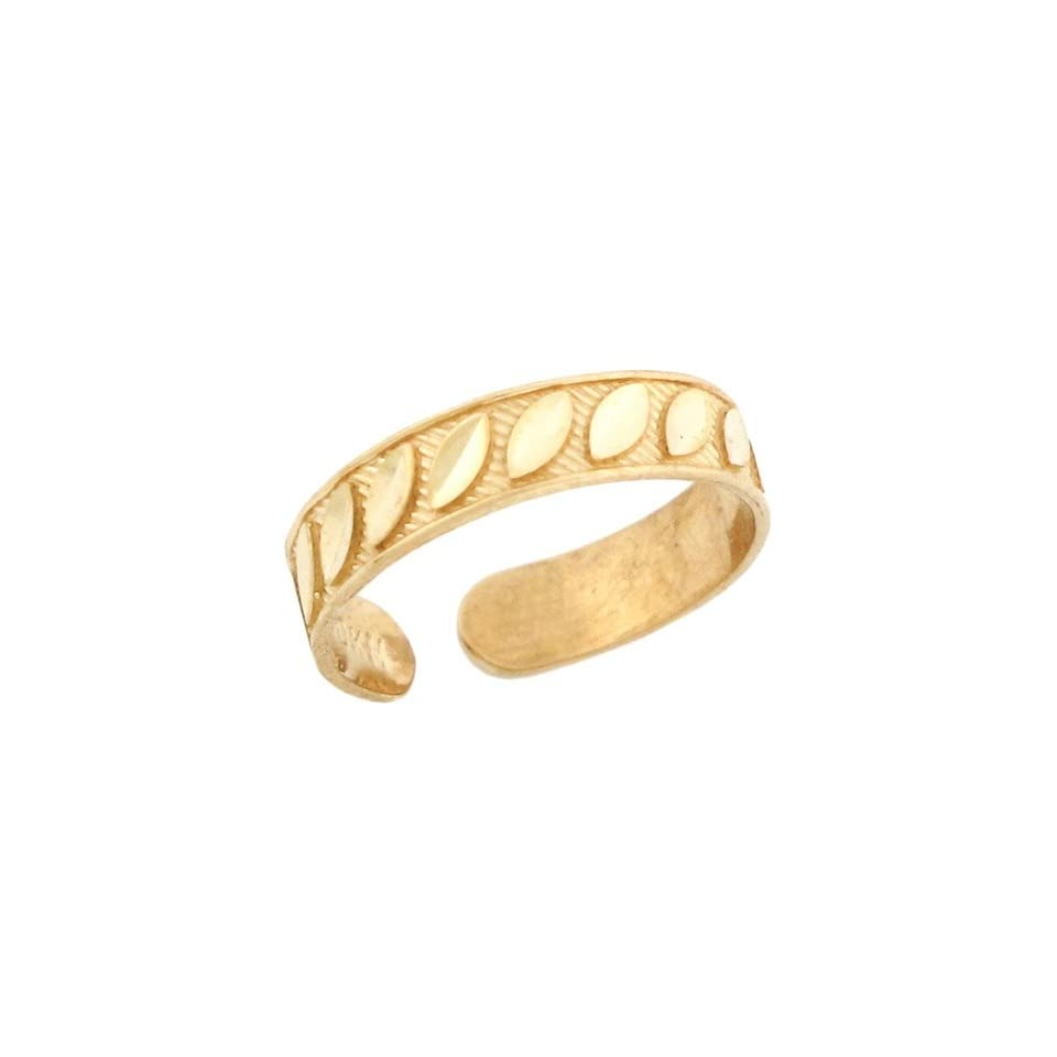 10k Solid Yellow Gold Diamond Cut Toe Ring