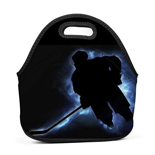 Ice Hockey Puckster Lunch Bag Bento Pouch Lunchbox Portable Baby Bag Multifunctional Satchel Handbag for Outdoor Tour School Office Picnic