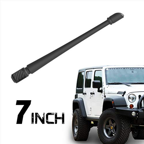 Rydonair Antenna Compatible with Jeep Wrangler JK JKU JL JLU Rubicon Sahara Gladiator (2007-2019) | 7 inches Flexible Antenna Replacement | Designed for Optimized FM/AM - Short Jk
