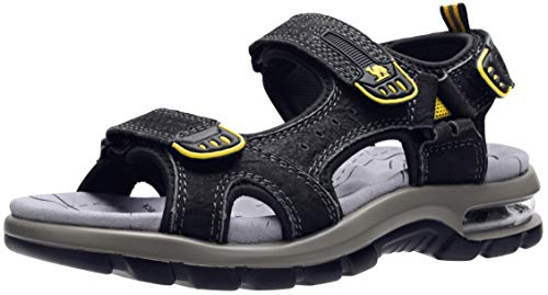 CAMEL CROWN Men's Leather Sandals for Hiking Walking Beach Treads Water Athletic Outdoor with Premium Air Cushion | Waterproof Black