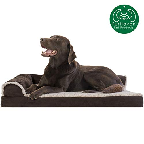 Furhaven Pet Dog Bed | Deluxe Orthopedic Two-Tone Plush Faux Fur & Suede L Shaped Chaise Lounge Living Room Corner Couch Pet Bed w/ Removable Cover for Dogs & Cats, Espresso, Large