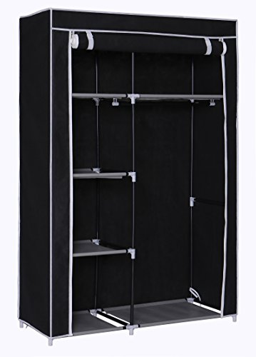 "Homebi Closet Wardrobe Clothes Closet System Non-woven Fabric Clothes Rack Portable Storage Organizer with Shelves and Hanging Rod,41.14""W x 18.0"" D x 62.2""H (Black) (Wooden Shelf With Hanging Rod)"