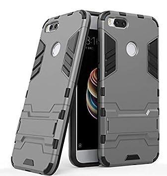 Max Power Digital Funda Carcasa Xiaomi Mi A1 / 5X Tipo Hybrid Iron Man Antigolpes Híbrida Armadura Robusta con Pata Trasera (Gris)