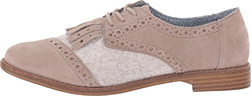 Toms Women's Brogue Dress Lace-up Desert Taupe Suede/wool Kiltie Oxford (7)