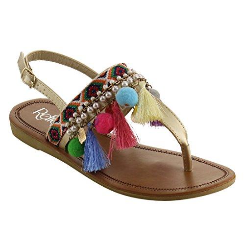 Aztec Sandal - Refresh IE92 Women's Bohemian Pom Pom Tassel Ankle Strap Thong Flat Sandal, Color Champagne, Size:7