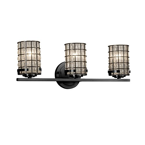 Wire Glass - Atlas 3-Light Bath Bar - Cylinder with Flat Rim Wire Cage and Blown Glass Shade in Grid with Clear Bubbles - Matte Black Finish - LED