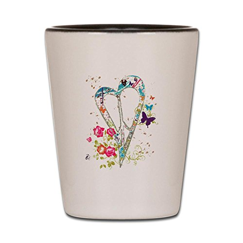 Shot Glass White and Black of Flowered Butterfly Heart Peace Symbol