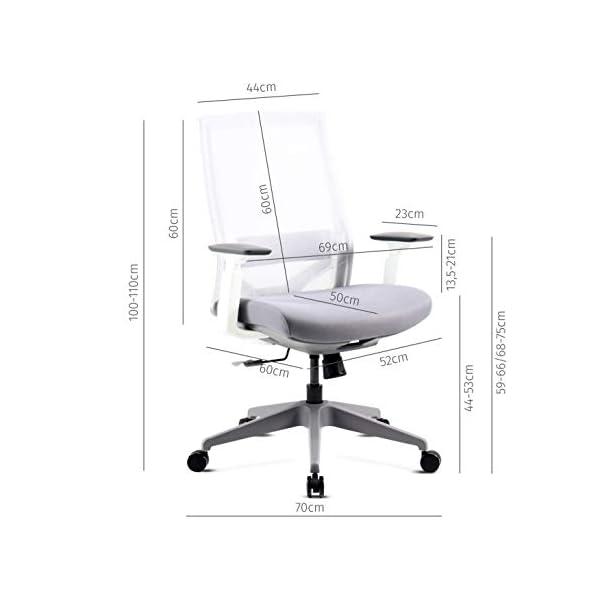 Mc Haus VULCANO – Chaise de Bureau Blanche à Roulettes Ergonomique Hauteur Réglable et Accoudoirs Siège Ajustable Pour…