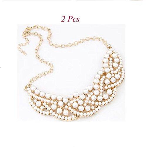 Sterling Silver Enhancer Mounting (Garrelett Collar Necklace, 2 Pcs Charm Crystal Elegant Choker Bib Necklace Golden Pearl Hollowed Necklace for Women Girls)