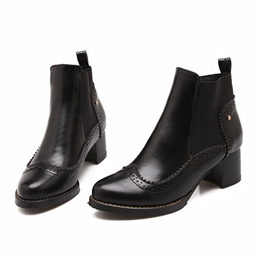 Pull On Material Toe Heels Black Soft Boots Closed Kitten Round Women's AmoonyFashion Solid fvzSwxq