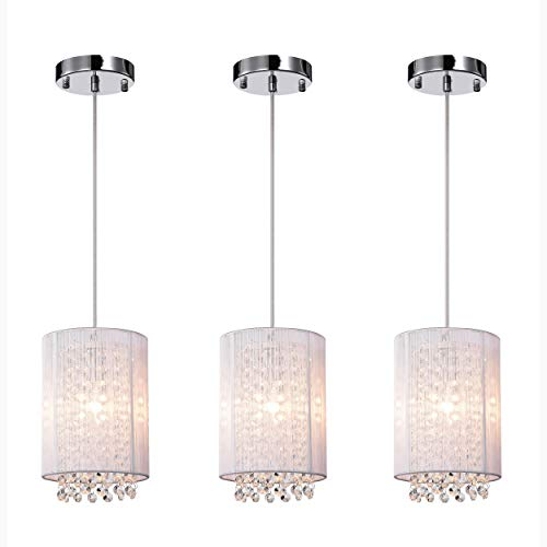 LaLuLa Crystal Pendant Lighting White Modern Chandeliers 1 Light Ceiling Lights 3 Pcak
