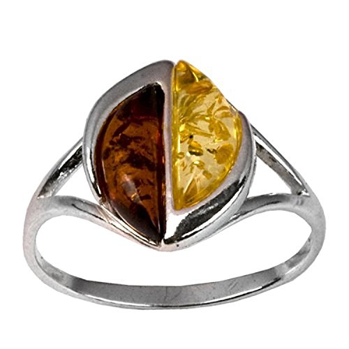 Sterling Silver Multicolor Amber Citrus Colors Ring