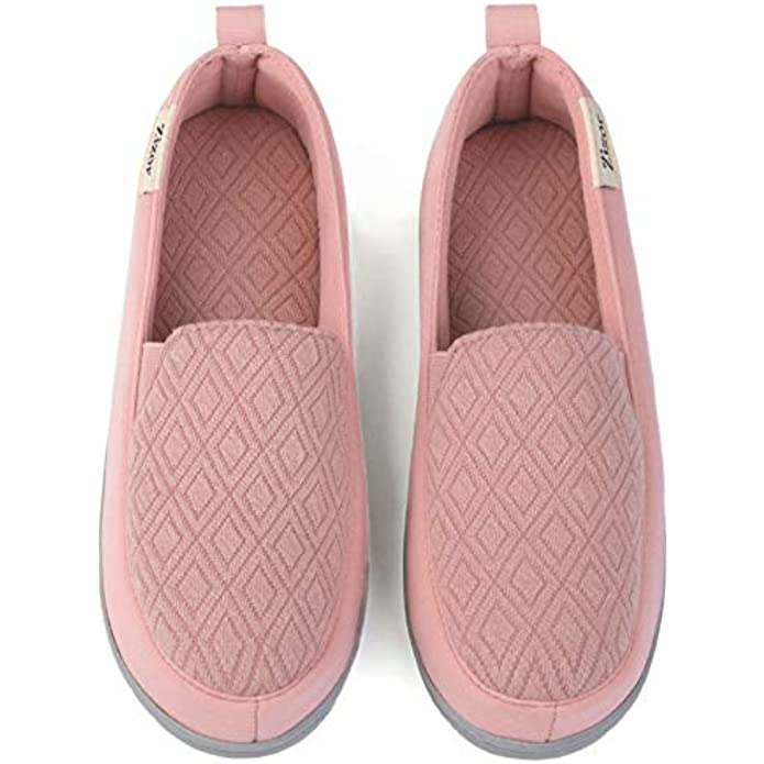 ZIZOR Women's Two-Tone Cotton Slippers with Memory Foam, Ladies' Lightweight Closed Back House Shoes for Indoor Outdoor