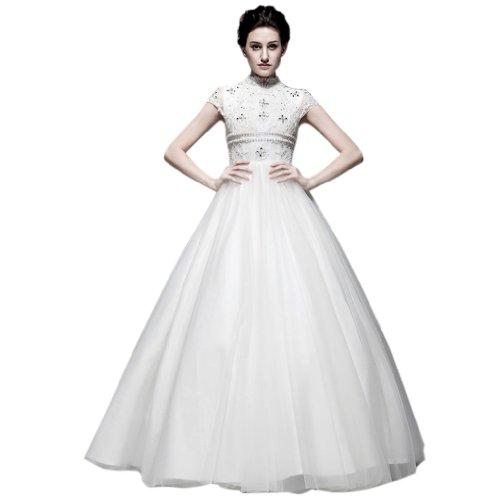Hoher Prinzessin Applikation Elfenbein Bodenlang Kragen Damen Linie Kleidungen Perlen A Pailletten Brautkleider Dearta Tuell Mit qIwXC6xP