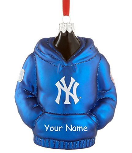 (Personalized Officially Licensed MLB New York Yankees Glittered Hoodie Christmas Ornament with)