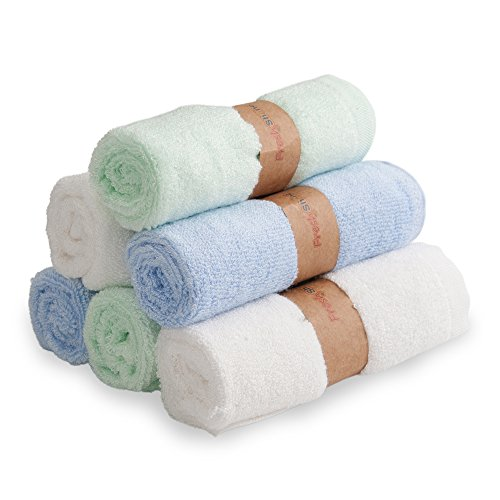 Baby Washcloths 100% Organic Bamboo Wash Cloths Ultra Soft & Absorbent, Ideal Newborn Shower Registry Gift- 6 Pack