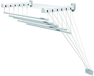 Gimi Lift 140 Tendedero de pared y techo de acero, 8,5 m de longitud de tendido
