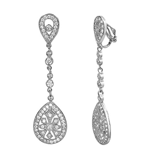 SELOVO Bridal Art Deco Classical Gatsby Inspired Pave Cubic Zirconia Chandelier Earrings Clip-On