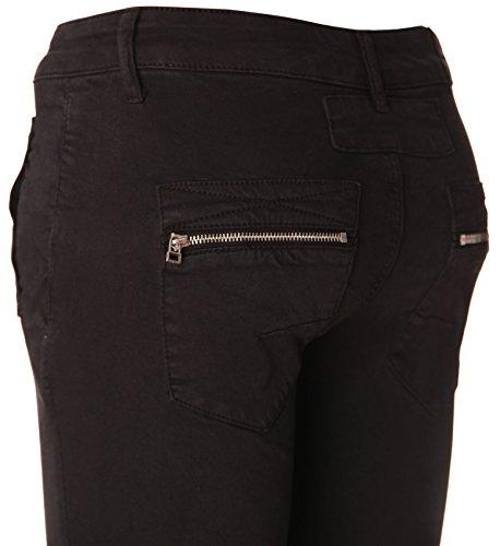 Ajuste Estrecho knopf Und Con Schwarz Botones De Tipo Basic Cremallera Pantalones de Boyfriend Reißverschluss Y Algodón 4 6WSAgnITq