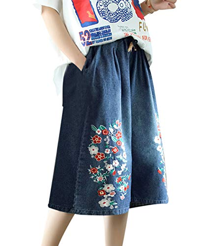(YESNO PB6 Women Casual Loose Cropped Denim Pants Skirt Embroidered Jeans Wide Leg Low)