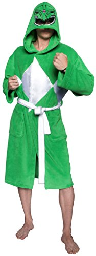 Power Rangers Men's Mighty Morphin Robe, Green, One Size