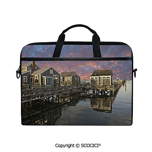 Printed Laptop Bags Notebook Bag Covers Cases Sunset Over Nantucket Massachusetts Dramatic Sky Clouds Pond Houses with Adjustable Strip and Zipper Closure
