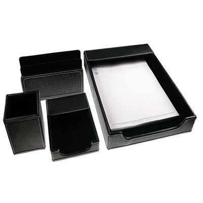 Black Leather Desk Set, of 4