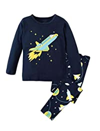 "Babylike ""spacecraft"" little boys 2 Piece Pajama 100% Cotton(Size 2-9 Years)"