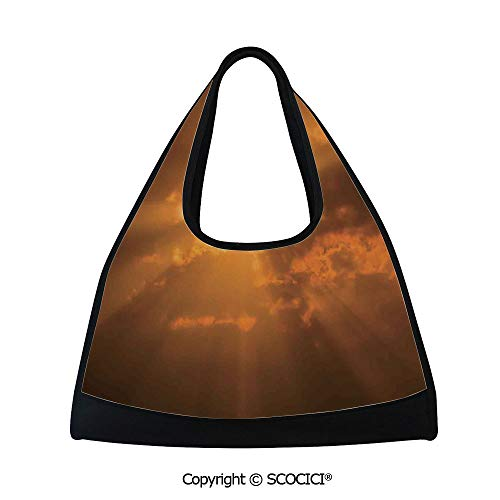 Badminton bag,Sun Through the Clouds in the Sky Sunburst View Decorating Picture Artwork,Multi Functional Bag (18.5x6.7x20 in) Orange ()