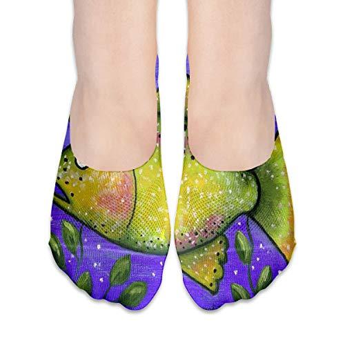 No Show Socks Folk Art Fish Inspiring Womens Low Cut Sock Loafers Invisible Socks for Girl