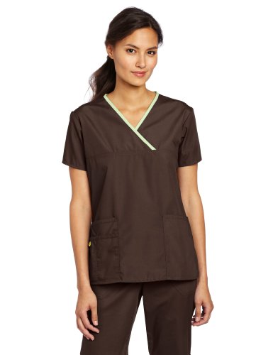 WonderWink Women's Scrubs Charlie 5 Pocket Y-Neck Wrap Top, Chocolate, Large