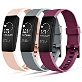 Tobfit Bands Replacement Compatible with Fitbit Inspire HR & Fitbit Inspire Accessories Women Men, 3 Pack, Sangria/Pink Sand/Gray, Small