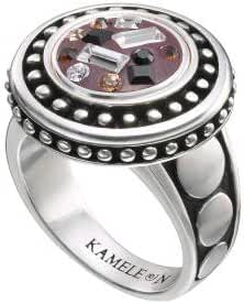 Kameleon Round Antique Ring Size 6 * Jewelpop Authentic Silver New KR28size 6